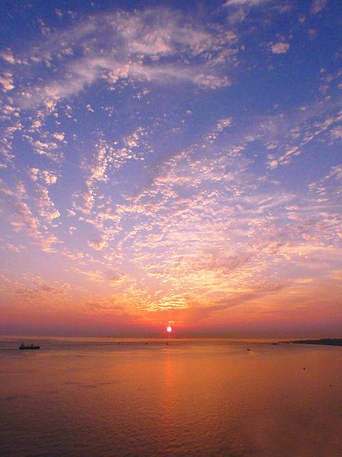 秋の夕日・夕焼け