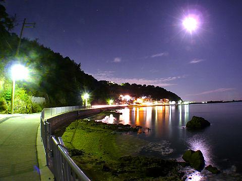 海の夜景と月光写真・画像