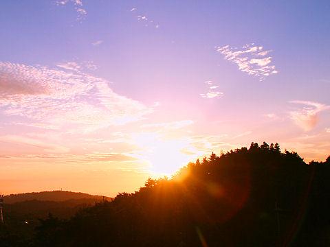 六甲山の夕日・写真画像