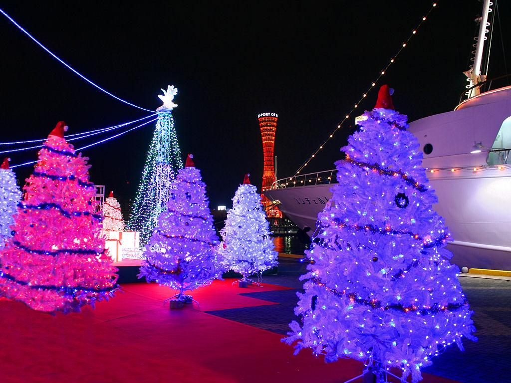 壁紙 神戸ポートタワーとクリスマスツリー 神戸の夜景 兵庫と神戸の写真ブログ
