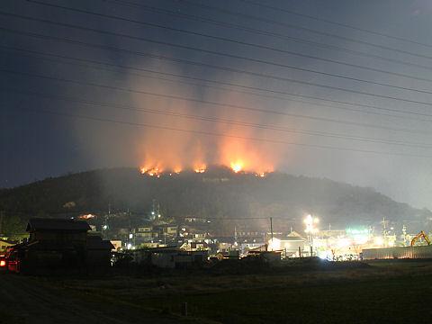 高砂市・竜山の山火事