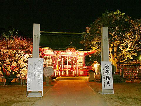 綱敷天満神社ライトアップ夜景