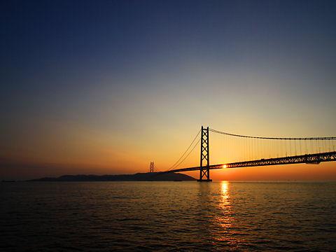 明石海峡大橋の夕景&夜景